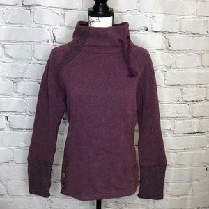 Prana Burgundy Pullover Mock Turtleneck Sweater with button detail. - Medium